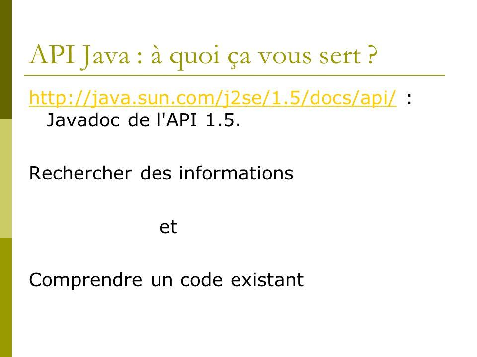 API Java : à quoi ça vous sert ? http://java.sun.com/j2se/1.5/docs/api/http://java.sun.com/j2se/1.5/docs/api/ : Javadoc de l'API 1.5. Rechercher des i