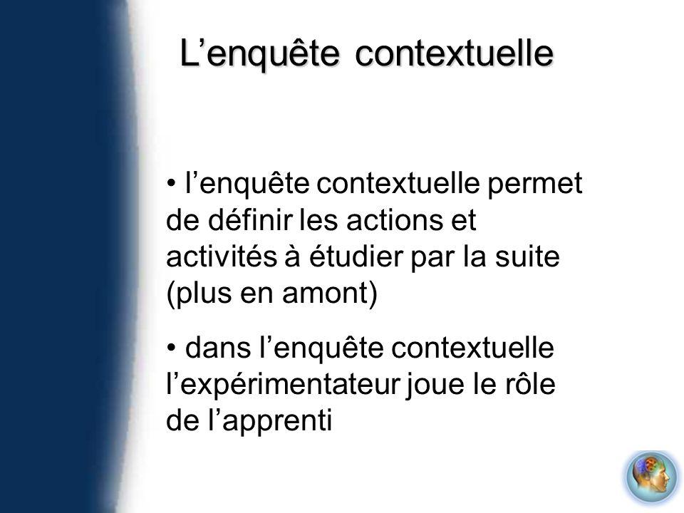 Lenquête contextuelle lenquête contextuelle permet de définir les actions et activités à étudier par la suite (plus en amont) dans lenquête contextuel