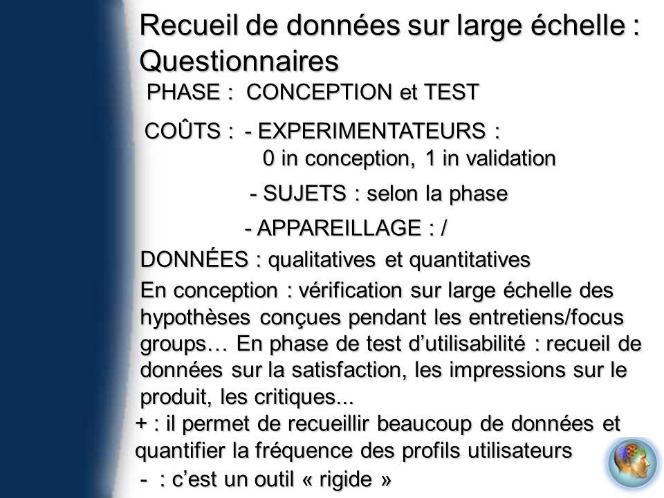 Recueil de données sur large échelle : Questionnaires PHASE : CONCEPTION et TEST COÛTS : - EXPERIMENTATEURS : 0 in conception, 1 in validation 0 in co