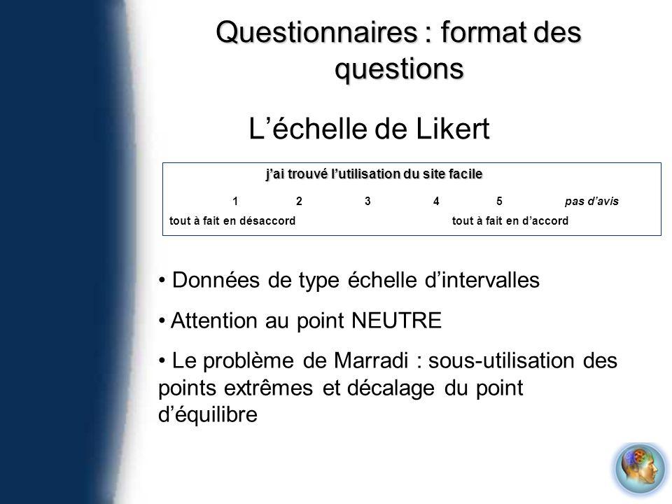 Questionnaires : format des questions Léchelle de Likert jai trouvé lutilisation du site facile 12345 tout à fait en désaccordtout à fait en daccord p