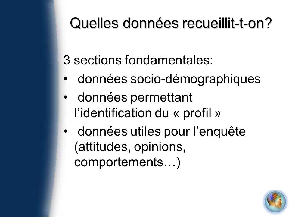 Quelles données recueillit-t-on? 3 sections fondamentales: données socio-démographiques données permettant lidentification du « profil » données utile