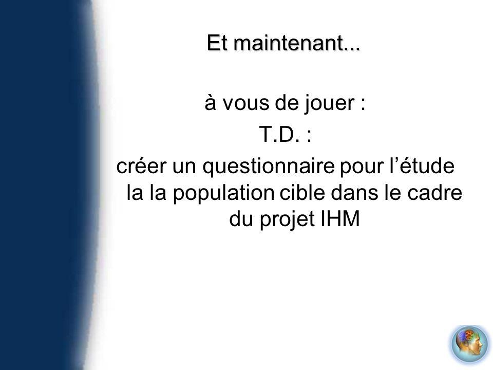 Et maintenant... à vous de jouer : T.D. : créer un questionnaire pour létude la la population cible dans le cadre du projet IHM