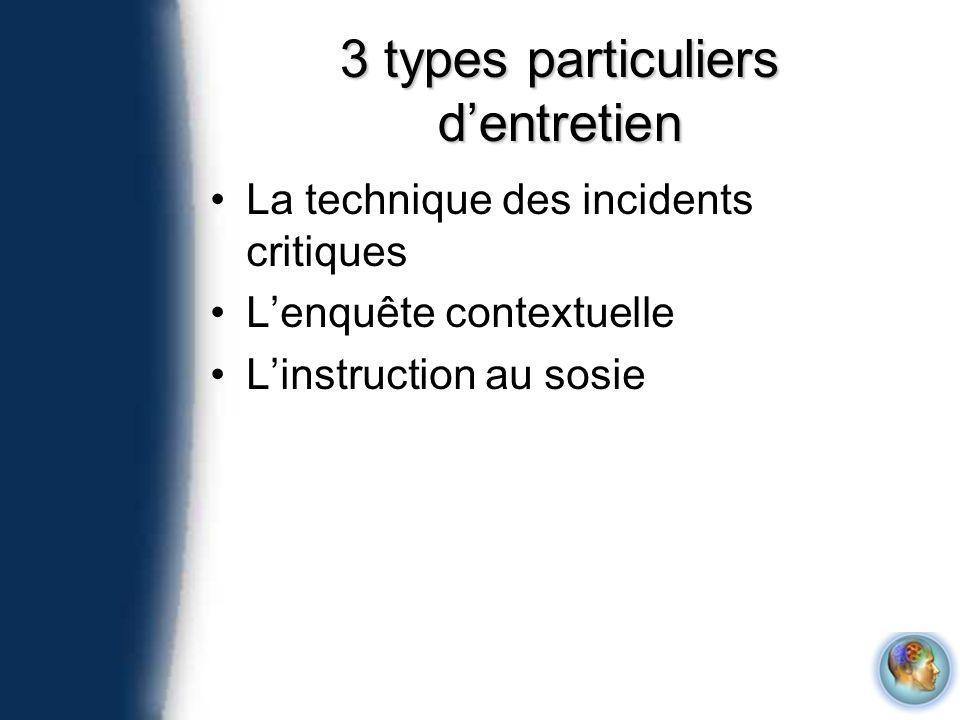 3 types particuliers dentretien La technique des incidents critiques Lenquête contextuelle Linstruction au sosie