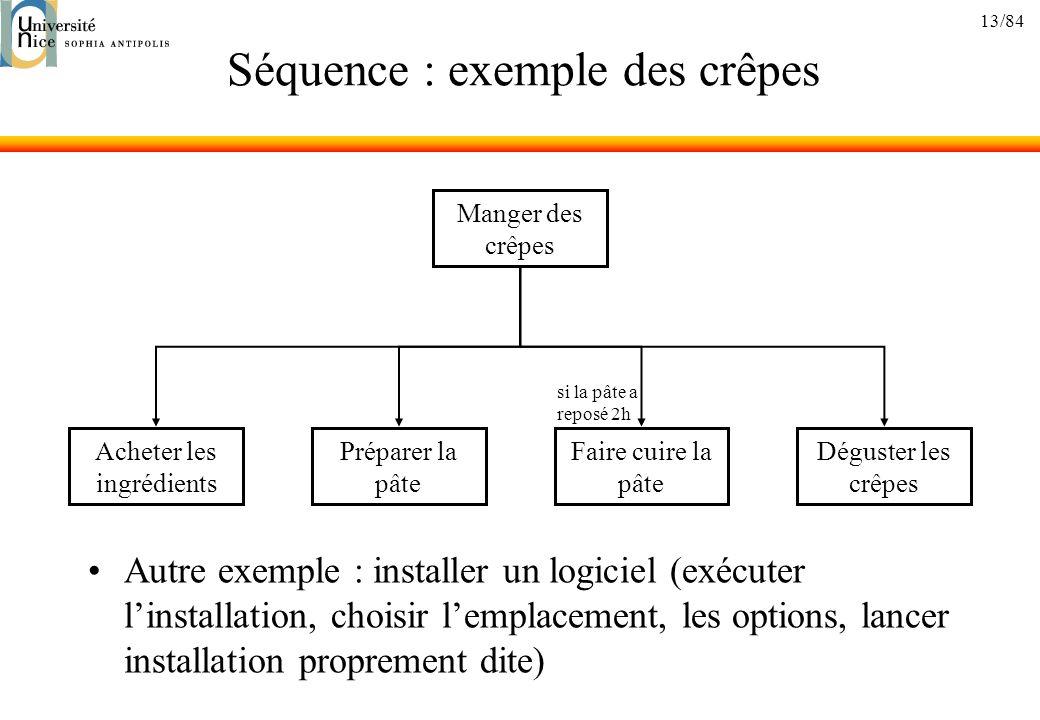 13/84 Séquence : exemple des crêpes Autre exemple : installer un logiciel (exécuter linstallation, choisir lemplacement, les options, lancer installat