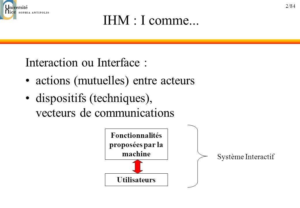 2/84 IHM : I comme... Interaction ou Interface : actions (mutuelles) entre acteurs dispositifs (techniques), vecteurs de communications Fonctionnalité