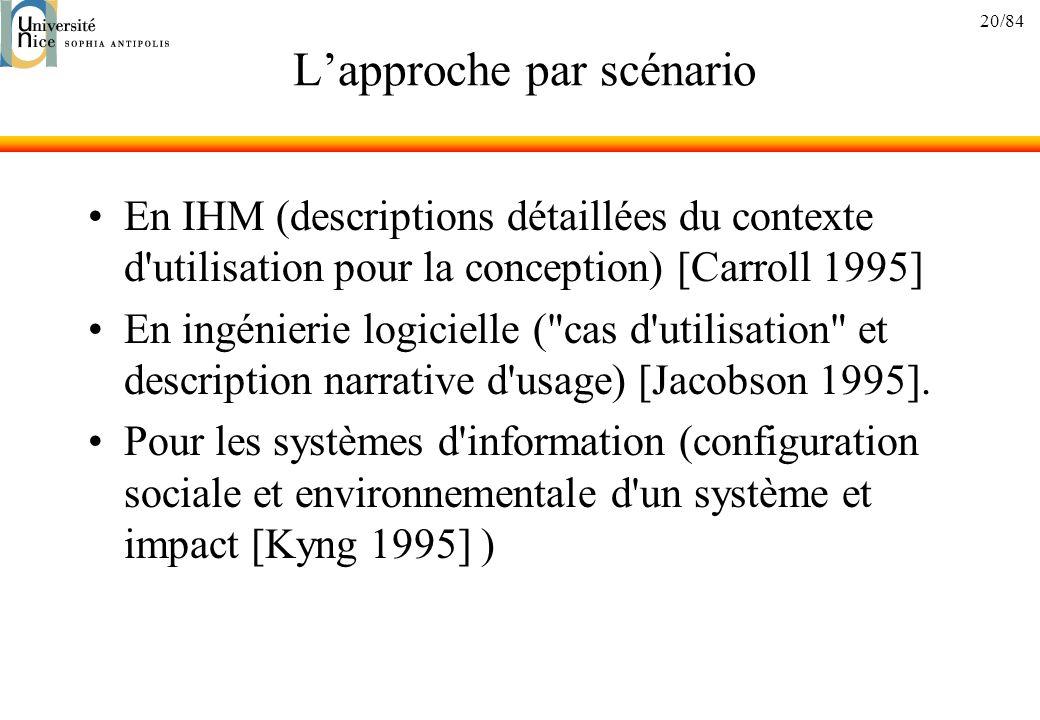 20/84 Lapproche par scénario En IHM (descriptions détaillées du contexte d'utilisation pour la conception) [Carroll 1995] En ingénierie logicielle (