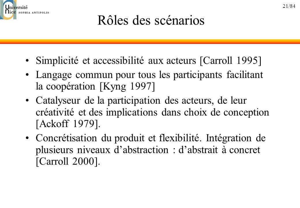 21/84 Rôles des scénarios Simplicité et accessibilité aux acteurs [Carroll 1995] Langage commun pour tous les participants facilitant la coopération [