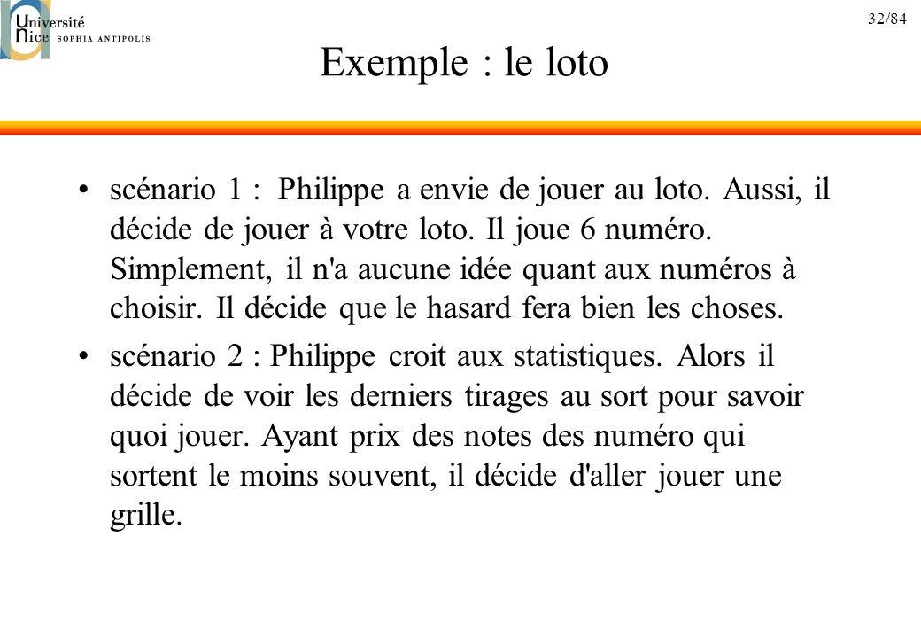 32/84 Exemple : le loto scénario 1 : Philippe a envie de jouer au loto. Aussi, il décide de jouer à votre loto. Il joue 6 numéro. Simplement, il n'a a