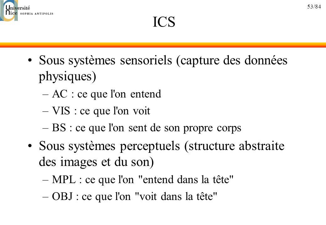 53/84 ICS Sous systèmes sensoriels (capture des données physiques) –AC : ce que l'on entend –VIS : ce que l'on voit –BS : ce que l'on sent de son prop
