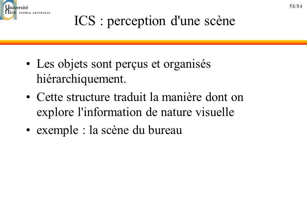 58/84 ICS : perception d'une scène Les objets sont perçus et organisés hiérarchiquement. Cette structure traduit la manière dont on explore l'informat