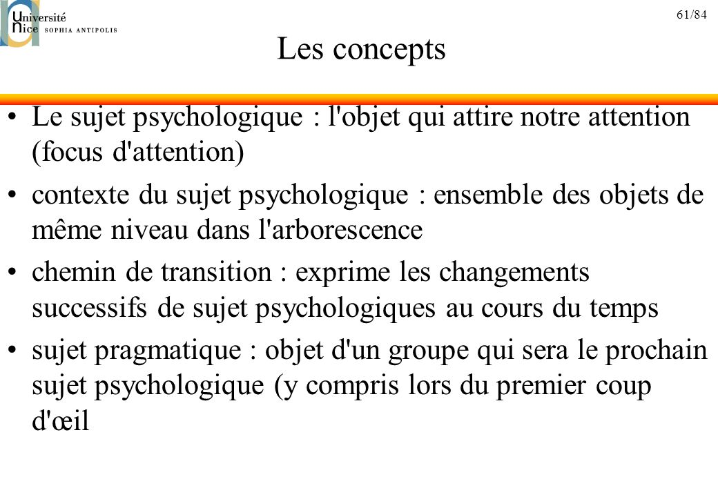 61/84 Les concepts Le sujet psychologique : l'objet qui attire notre attention (focus d'attention) contexte du sujet psychologique : ensemble des obje