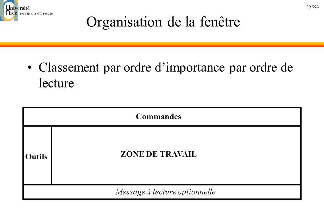 75/84 Organisation de la fenêtre Classement par ordre dimportance par ordre de lecture Commandes Message à lecture optionnelle Outils ZONE DE TRAVAIL