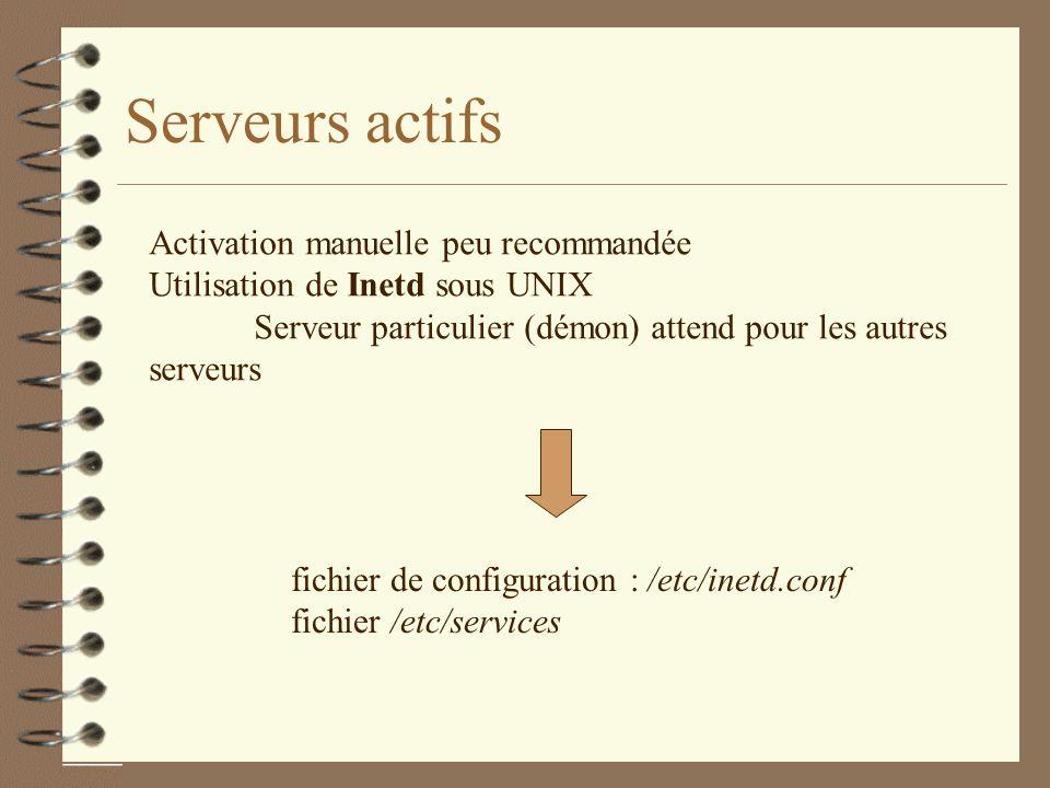 Serveurs actifs Activation manuelle peu recommandée Utilisation de Inetd sous UNIX Serveur particulier (démon) attend pour les autres serveurs fichier de configuration : /etc/inetd.conf fichier /etc/services
