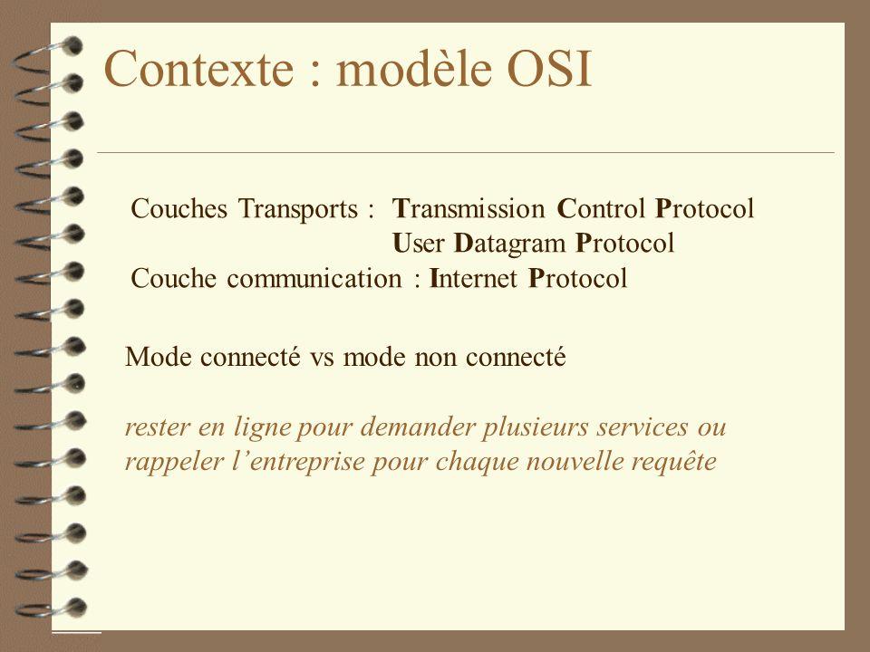 Contexte : modèle OSI Couches Transports : Transmission Control Protocol User Datagram Protocol Couche communication : Internet Protocol Mode connecté vs mode non connecté rester en ligne pour demander plusieurs services ou rappeler lentreprise pour chaque nouvelle requête