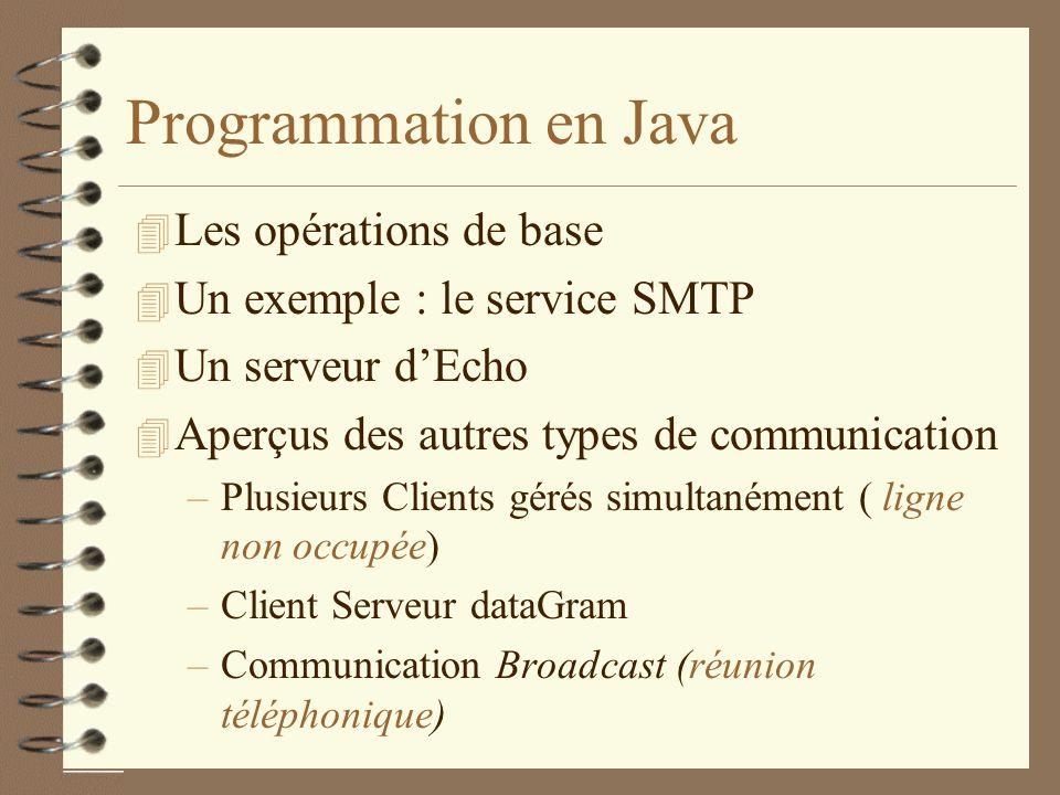 Programmation en Java 4 Les opérations de base 4 Un exemple : le service SMTP 4 Un serveur dEcho 4 Aperçus des autres types de communication –Plusieurs Clients gérés simultanément ( ligne non occupée) –Client Serveur dataGram –Communication Broadcast (réunion téléphonique)