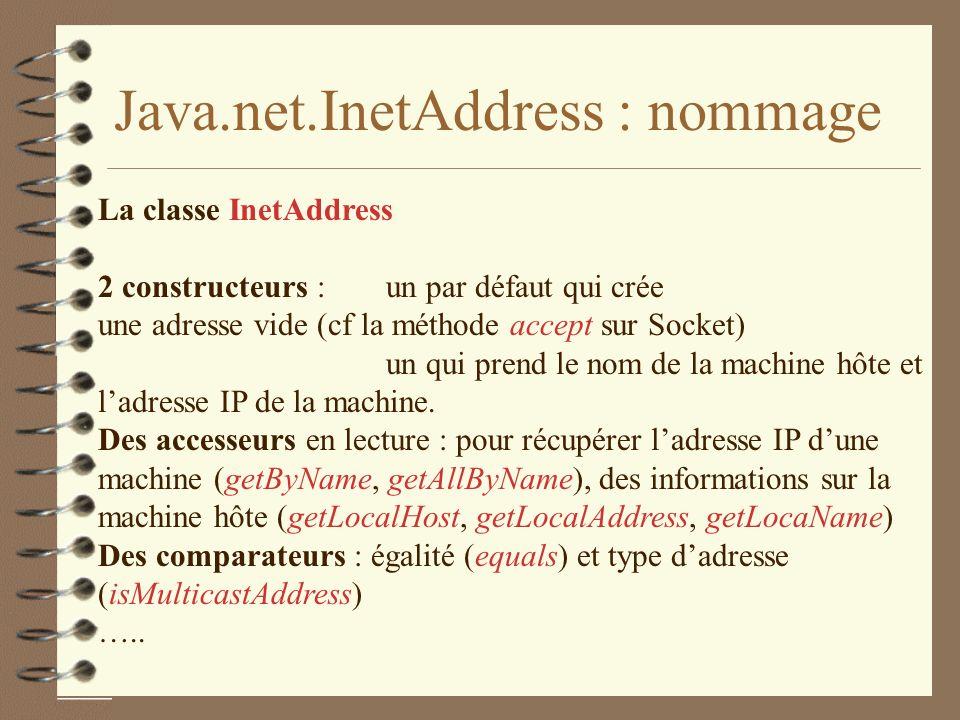 Java.net.InetAddress : nommage La classe InetAddress 2 constructeurs : un par défaut qui crée une adresse vide (cf la méthode accept sur Socket) un qui prend le nom de la machine hôte et ladresse IP de la machine.