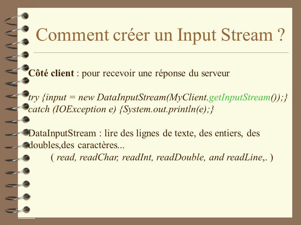 Comment créer un Input Stream .