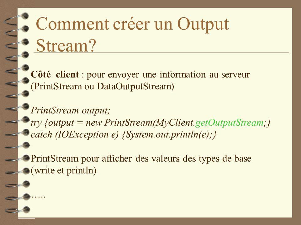 Comment créer un Output Stream.