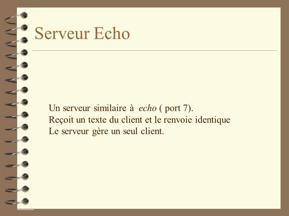 Serveur Echo Un serveur similaire à echo ( port 7).