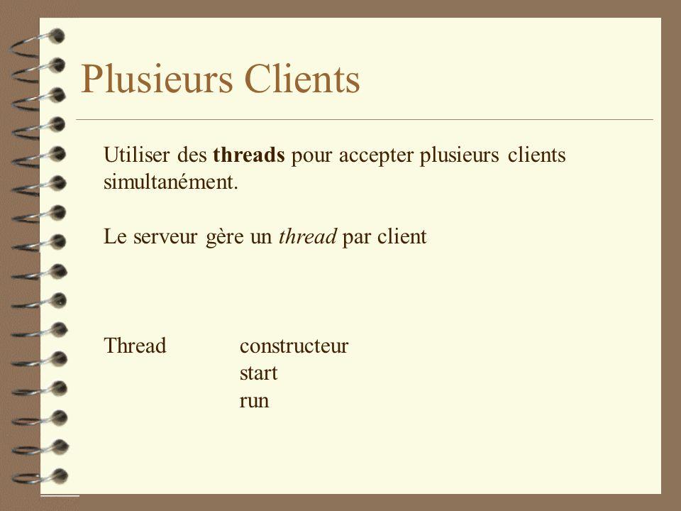Plusieurs Clients Utiliser des threads pour accepter plusieurs clients simultanément.