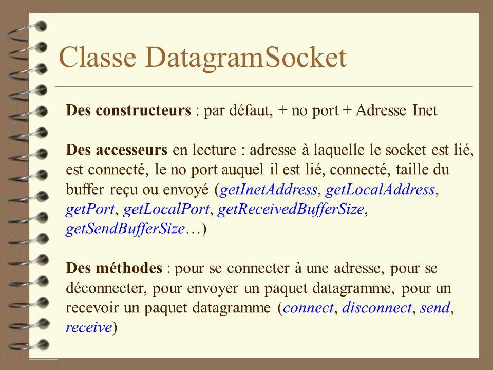 Classe DatagramSocket Des constructeurs : par défaut, + no port + Adresse Inet Des accesseurs en lecture : adresse à laquelle le socket est lié, est connecté, le no port auquel il est lié, connecté, taille du buffer reçu ou envoyé (getInetAddress, getLocalAddress, getPort, getLocalPort, getReceivedBufferSize, getSendBufferSize…) Des méthodes : pour se connecter à une adresse, pour se déconnecter, pour envoyer un paquet datagramme, pour un recevoir un paquet datagramme (connect, disconnect, send, receive)