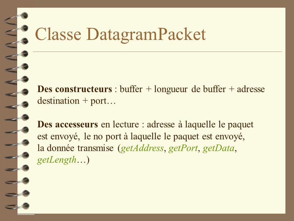 Classe DatagramPacket Des constructeurs : buffer + longueur de buffer + adresse destination + port… Des accesseurs en lecture : adresse à laquelle le paquet est envoyé, le no port à laquelle le paquet est envoyé, la donnée transmise (getAddress, getPort, getData, getLength…)