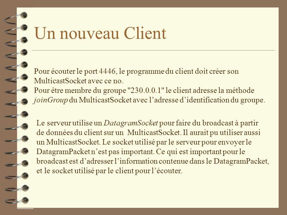 Un nouveau Client Pour écouter le port 4446, le programme du client doit créer son MulticastSocket avec ce no.