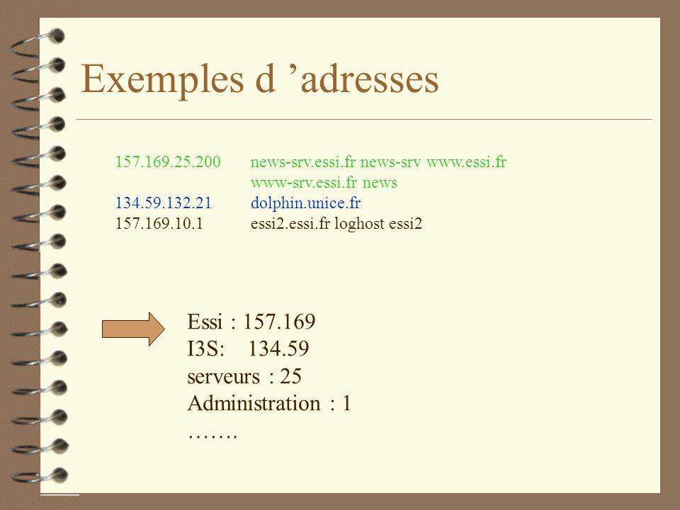 Exemples d adresses 157.169.25.200 news-srv.essi.fr news-srv www.essi.fr www-srv.essi.fr news 134.59.132.21 dolphin.unice.fr 157.169.10.1 essi2.essi.fr loghost essi2 Essi : 157.169 I3S: 134.59 serveurs : 25 Administration : 1 …….