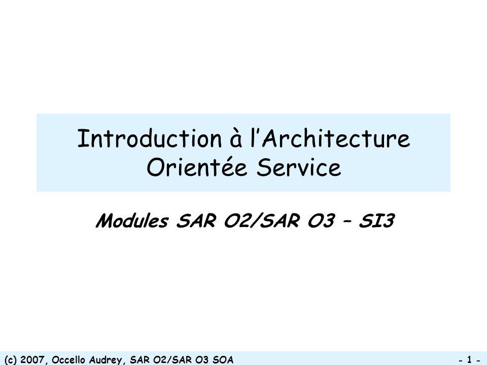 (c) 2007, Occello Audrey, SAR O2/SAR O3 SOA - 72 - Chronique dune évolution * * objets * services composants Niveaux dabstraction grandissant Assembleur Langages machine Langages procéduraux 01011 10100 11000 01011