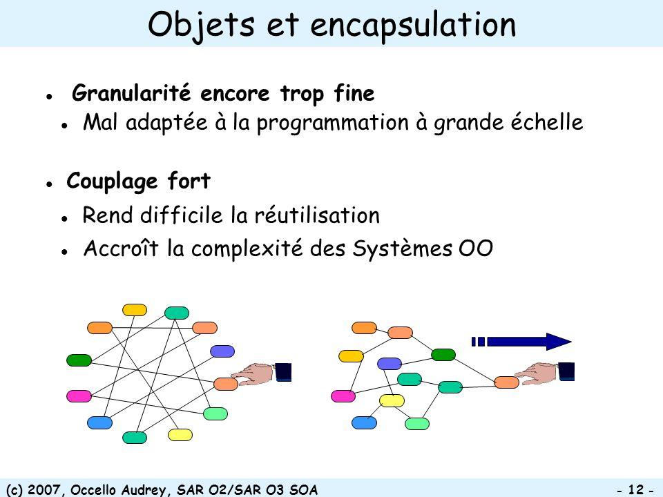 (c) 2007, Occello Audrey, SAR O2/SAR O3 SOA - 12 - Granularité encore trop fine Mal adaptée à la programmation à grande échelle Couplage fort Rend dif