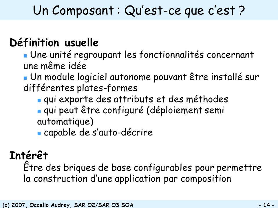 (c) 2007, Occello Audrey, SAR O2/SAR O3 SOA - 14 - Définition usuelle Une unité regroupant les fonctionnalités concernant une même idée Un module logi