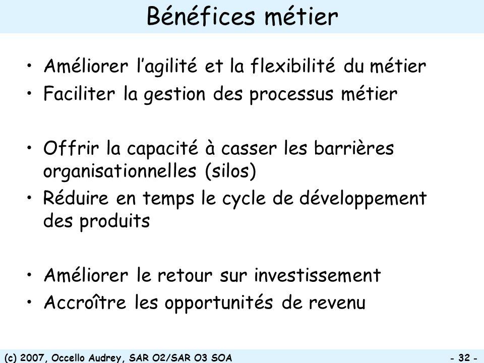 (c) 2007, Occello Audrey, SAR O2/SAR O3 SOA - 32 - Bénéfices métier Améliorer lagilité et la flexibilité du métier Faciliter la gestion des processus