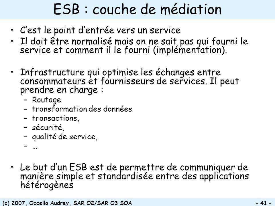 (c) 2007, Occello Audrey, SAR O2/SAR O3 SOA - 41 - ESB : couche de médiation Cest le point dentrée vers un service Il doit être normalisé mais on ne s
