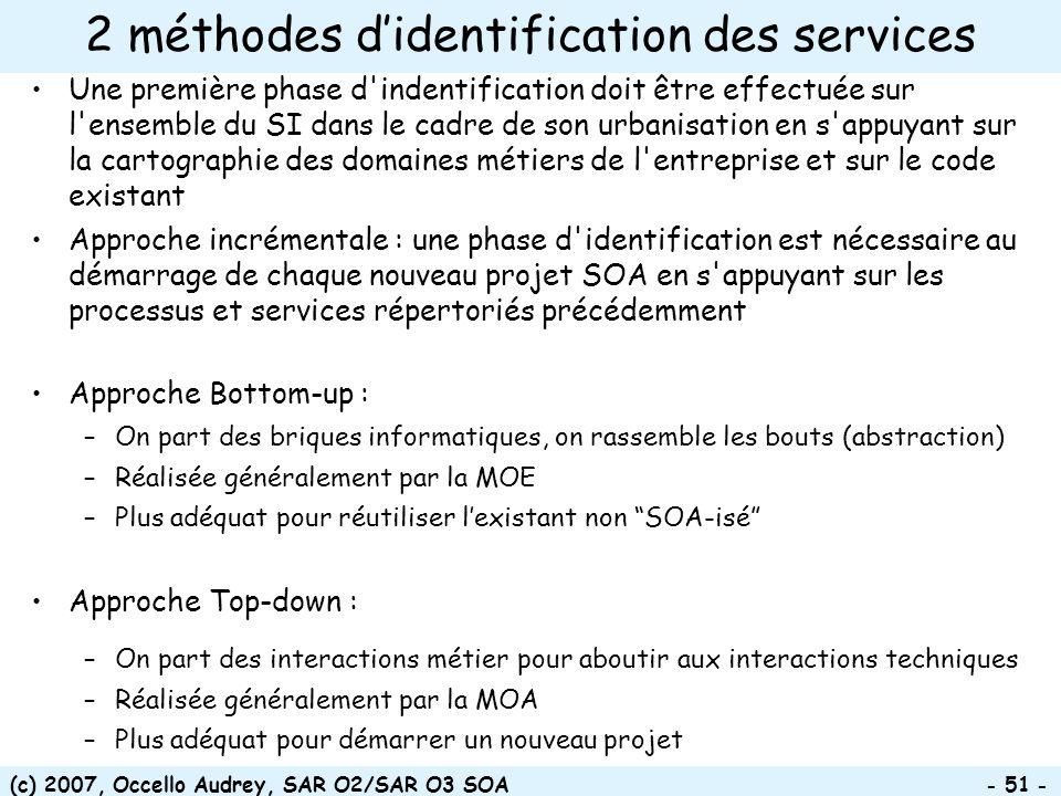 (c) 2007, Occello Audrey, SAR O2/SAR O3 SOA - 51 - 2 méthodes didentification des services Une première phase d'indentification doit être effectuée su