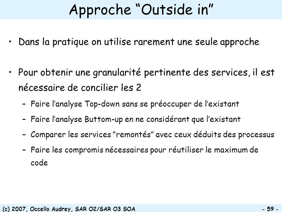(c) 2007, Occello Audrey, SAR O2/SAR O3 SOA - 59 - Approche Outside in Dans la pratique on utilise rarement une seule approche Pour obtenir une granul