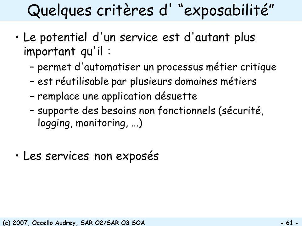 (c) 2007, Occello Audrey, SAR O2/SAR O3 SOA - 61 - Le potentiel d'un service est d'autant plus important qu'il : –permet d'automatiser un processus mé