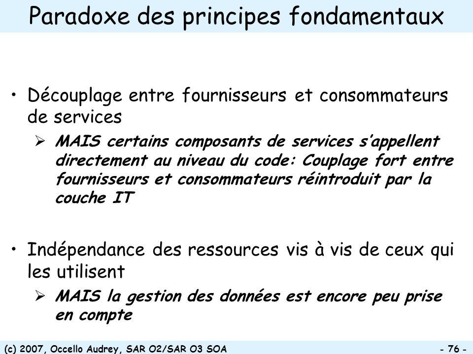 (c) 2007, Occello Audrey, SAR O2/SAR O3 SOA - 76 - Paradoxe des principes fondamentaux Découplage entre fournisseurs et consommateurs de services MAIS certains composants de services sappellent directement au niveau du code: Couplage fort entre fournisseurs et consommateurs réintroduit par la couche IT Indépendance des ressources vis à vis de ceux qui les utilisent MAIS la gestion des données est encore peu prise en compte