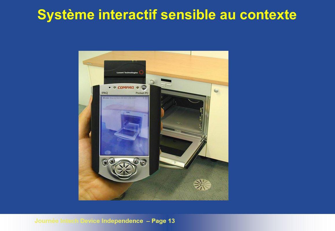 Journée Intech Device Independence – Page 13 Système interactif sensible au contexte