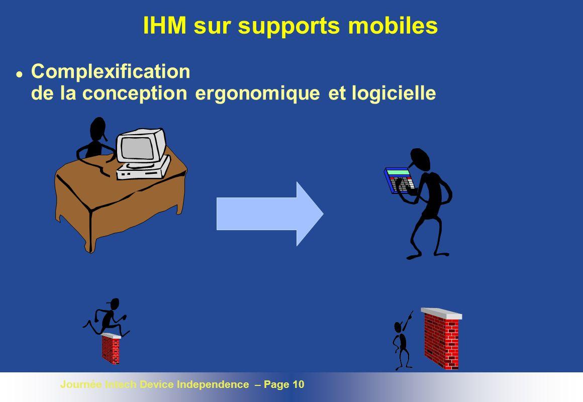 Journée Intech Device Independence – Page 10 IHM sur supports mobiles l Complexification de la conception ergonomique et logicielle
