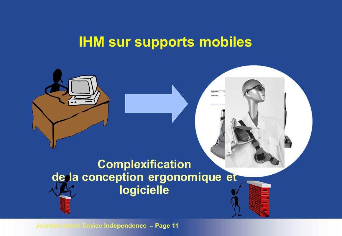 Journée Intech Device Independence – Page 11 IHM sur supports mobiles Complexification de la conception ergonomique et logicielle