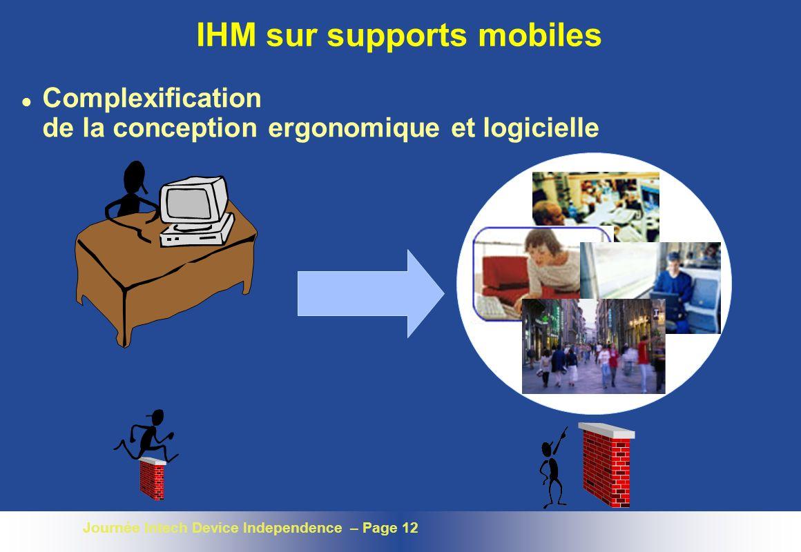 Journée Intech Device Independence – Page 12 IHM sur supports mobiles l Complexification de la conception ergonomique et logicielle