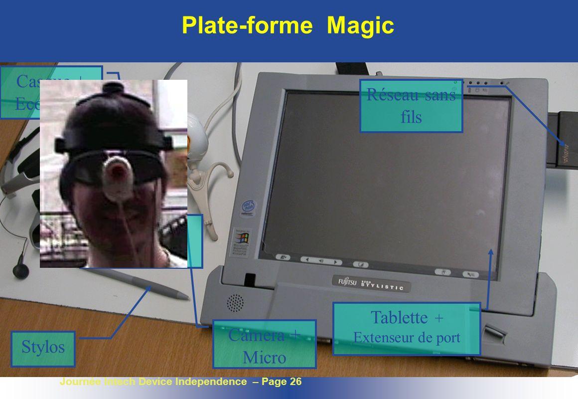 Journée Intech Device Independence – Page 26 Plate-forme Magic Camera + Micro Casque + Ecouteurs Capteur dorientation Stylos Tablette + Extenseur de p