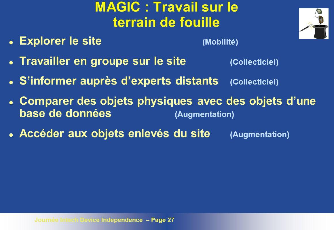 Journée Intech Device Independence – Page 27 MAGIC : Travail sur le terrain de fouille l Explorer le site (Mobilité) l Travailler en groupe sur le sit