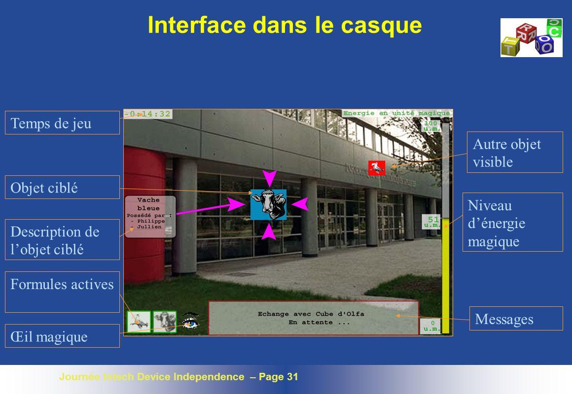 Journée Intech Device Independence – Page 31 Temps de jeu Objet ciblé Description de lobjet ciblé Formules actives Autre objet visible Niveau dénergie