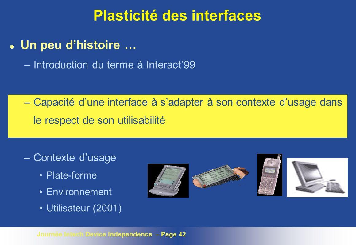Journée Intech Device Independence – Page 42 Plasticité des interfaces l Un peu dhistoire … –Introduction du terme à Interact99 –Capacité dune interfa