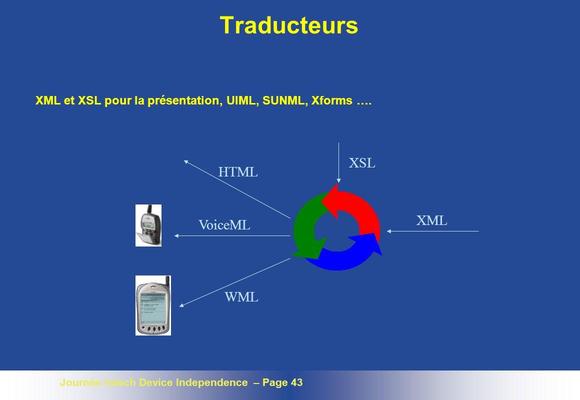 Journée Intech Device Independence – Page 43 Traducteurs XML XSL HTML VoiceML WML XML et XSL pour la présentation, UIML, SUNML, Xforms ….
