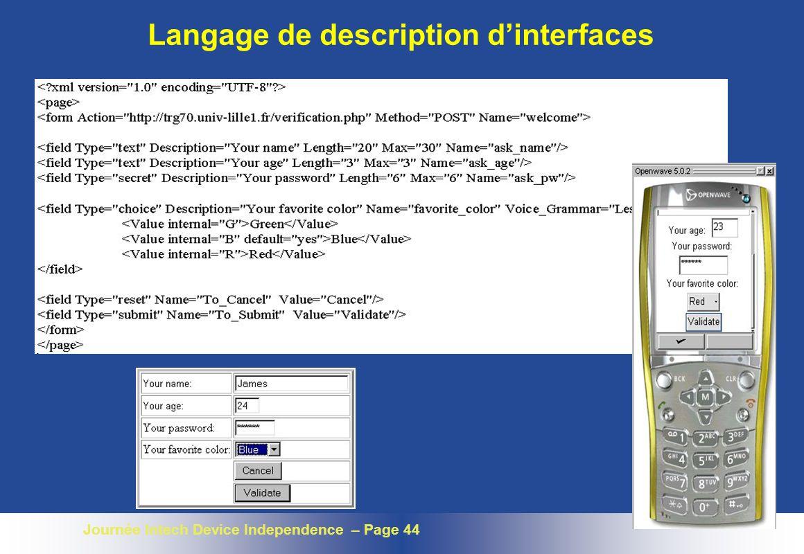 Journée Intech Device Independence – Page 44 Langage de description dinterfaces