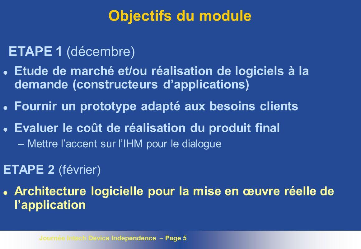 Journée Intech Device Independence – Page 5 Objectifs du module l Etude de marché et/ou réalisation de logiciels à la demande (constructeurs dapplicat