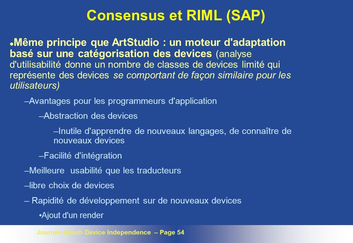 Journée Intech Device Independence – Page 54 Consensus et RIML (SAP) l Même principe que ArtStudio : un moteur d'adaptation basé sur une catégorisatio