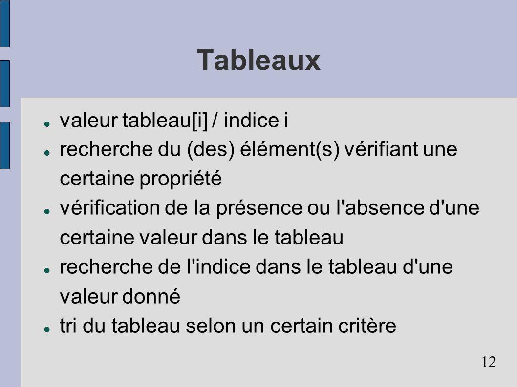 12 Tableaux valeur tableau[i] / indice i recherche du (des) élément(s) vérifiant une certaine propriété vérification de la présence ou l'absence d'une